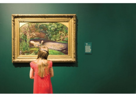 Child viewing Sir John Everett Millais, Bt Ophelia 1851-2 at Tate Britain