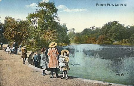 Postcard depicting a historical view of Princes Park, Liverpool