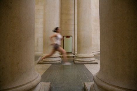 Runners in the galleries, part of Martin Creed Work No. 850 Tate Britain Duveens Commission 2008