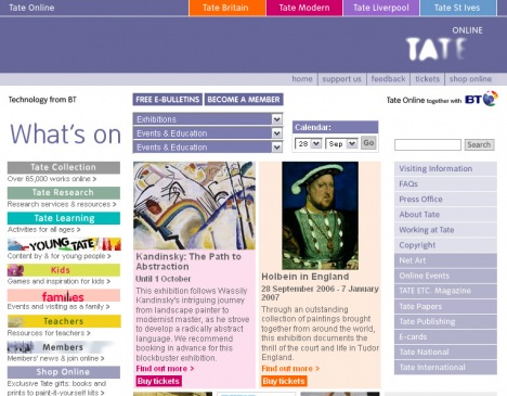 Tate Online homepage 2006