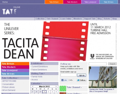 Tate Online homepage 2012
