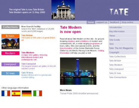 Tate Online homepage 2000