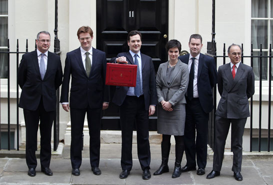 George Osborne holding the Budget box outside 11 Downing Street