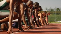 Athletes line up to start a race