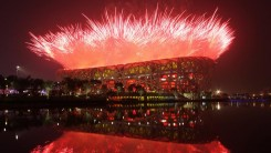 Fireworks at the National Stadium in Beijing