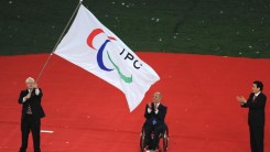 Mayor of London, Boris Johnson, receives the Paralympic Flag in Beijing