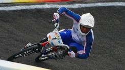 Shanaze Reade turns a corner during the Beijing 2008 Olympic Games