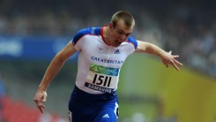 Ben Rushgrove crosses the finish line at the Beijing 2008 Paralymic Games