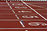 Close up of an athletics track