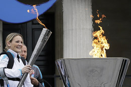 Claire Lomas lights the Paralympic flame cauldron PA credit