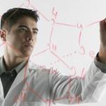 Research - chemist writing molecular diagram