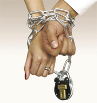 Hands padlocked together