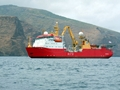 HMS Protector off St Helena