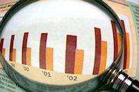 Image: Magnifying glass and bar chart