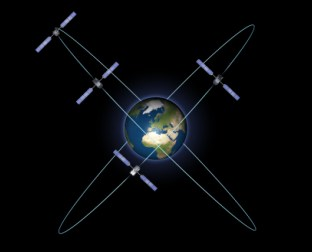 Artist's impression of the four Galileo In-Orbit Validation satellites in their orbits. Credit: ESA - P. Carril.