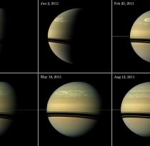 Series of images tracking the development of Saturn's giant storm, as seen at visible wavelengths during much of 2011. Credits: NASA/JPL-Caltech/Space Science Institute.