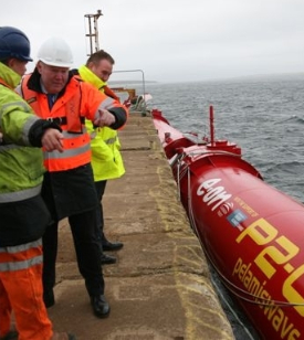 Charles Hendry visiting the Pelamis project in Scotland