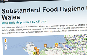 An image of the Food Hygiene Ratings map