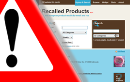 An image of a recalled product notice from the Recalled Products website