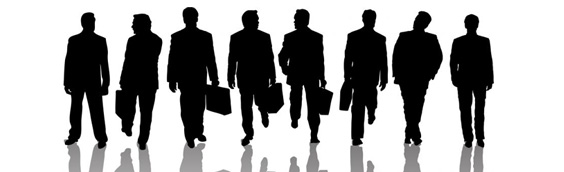 Silhouette of a group of business men in suits