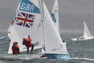 Pictured 470 Class GB boat Luke Patience & Stuart Bithell. Photo by David Poultney for GOC