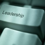 Computer keyboard key with words 'Leadership'