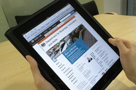 A tablet showing GOV.UK