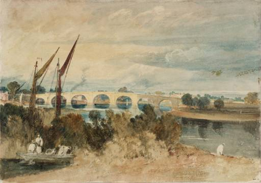 Joseph Mallord William Turner, 'Kew Bridge, with Brentford Eyot in the Foreground and Strand-on-Green Seen through the Arches: Low Tide' 1805