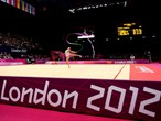 Evgeniya Kanaeva of Russia competes during the Individual All-Around Rhythmic Gymnastics final