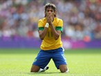 Neymar of Brazil rues a missed chance