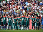 Mexico line up ahead of during the Men's Football Final