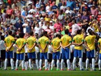 Brazil line up ahead of during the Men's Football Final