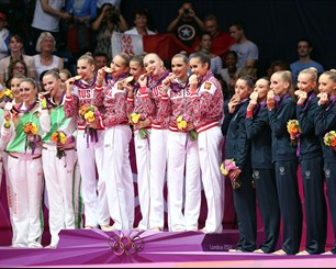 Medallists pose during All-Around Rythmic Gymnastics Victory Ceremony