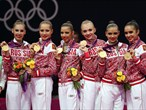 Russia celebrates gold in Group All-Around Rythmic Gymnastics