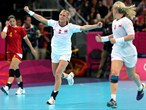 Ida Alstad #5 of Norway celebrates after a goal against Montenegro during the women's Handball