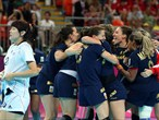 Spain celebrate after defeating Republic of Korea in the women's Handball bronze medal match