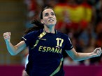 Elisabeth Pinedo Saenz of Spain celebrates after a point against Republic of Korea