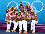 Gold medallists Russia smile on the podium