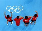 China celebrates winning gold in the men's Team Table Tennis