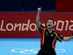 Timo Boll celebrates defeating Tianyi Jiang