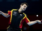 Timo Boll of Germany competes against Leung Chu Yan of Hong Kong, China
