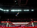 Savannah Vinsant of the United States competes in the Trampoline