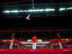 Lu Chunlong of China competes in the Men's Trampoline