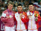 Men's Trampoline medallists pose at Victory Ceremony
