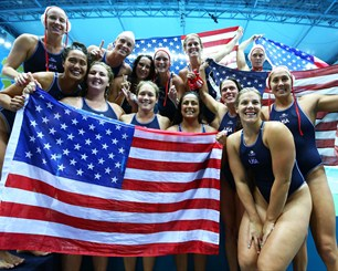 United States players celebrate winning the women's Water Polo gold medal match