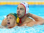 Richie Campbell of Australia and Peter Hudnut of United States tussle