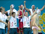 Croatian players celebrate in the Men's Water Polo semi-final