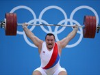 Jiri Orsag of the Czech Republic competes in the men's +105kg Weightlifting final