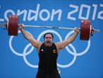 Almir Velagic of Germany competes in the men's +105kg Weightlifting final