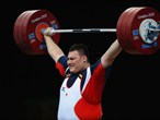 Kazuomi Ota of Japan competes in the men's +105kg Weightlifting final